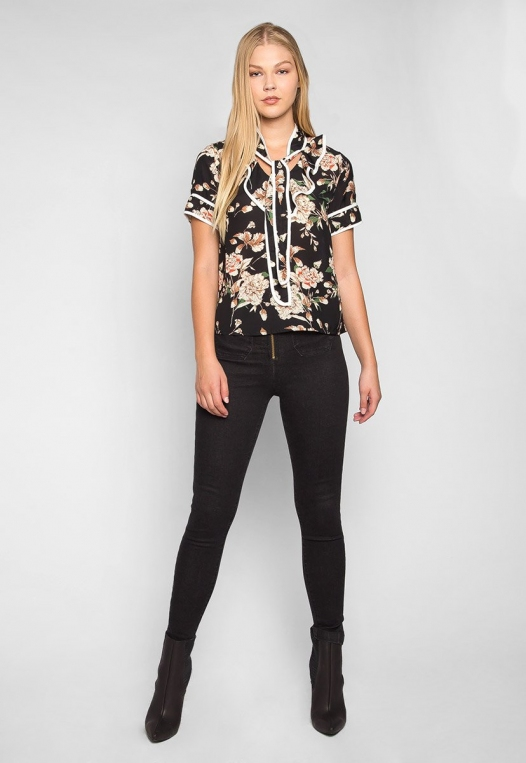 All I Need Floral Tie Neck Blouse alternate img #4