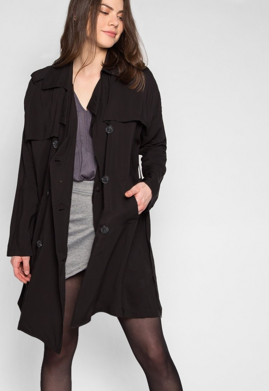 Look My Way Belted Trench Coat In Black alternate img #5