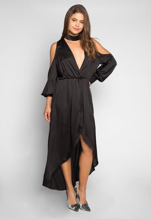 Always & Forever Satin Maxi Dress in Black alternate img #4