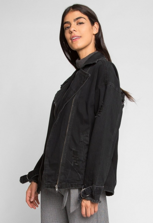 Black Distressed Denim Jacket alternate img #3