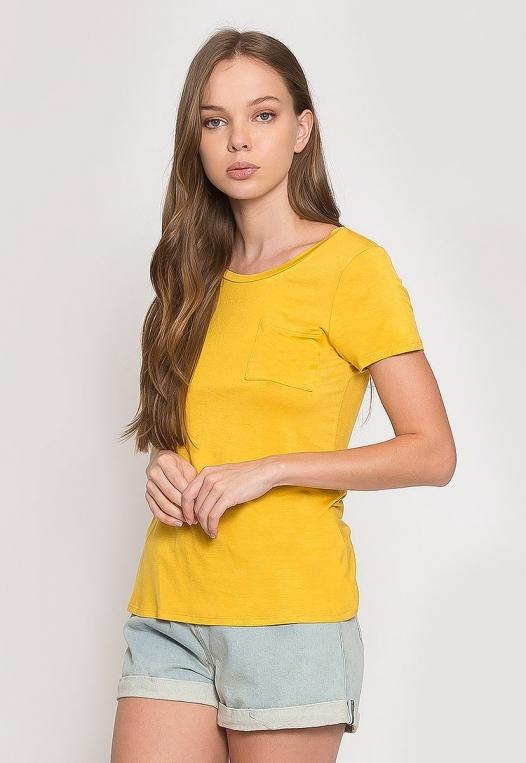Oregon Oversized V-Neck Pocket Tee in Yellow alternate img #3