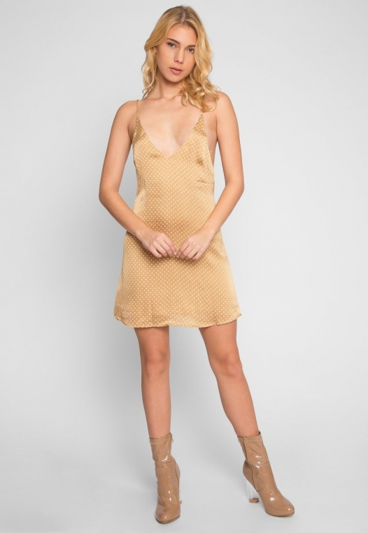 Nature Polka Dot Slip Dress in Gold alternate img #4