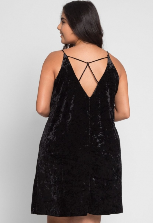 Plus Size Delilah Velvet Cami Dress in Black alternate img #3