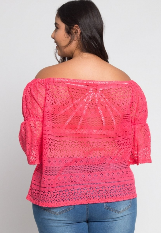 Plus Size Susie Off Shoulder Lace Top in Pink alternate img #3