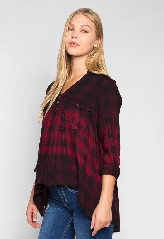 Lucky Girl Ombre Plaid Henley Shirt alternate img #3