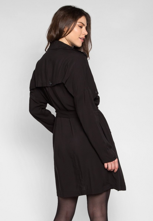 Look My Way Belted Trench Coat In Black alternate img #2