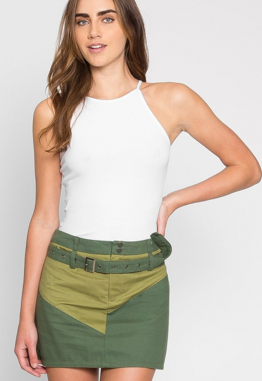 Colorblock Twill Mini Skirt alternate img #2