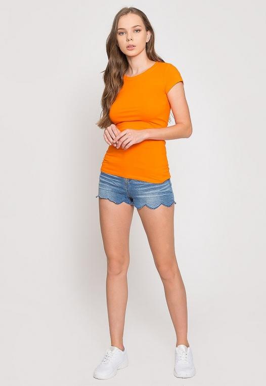 Venus Fitted Crew Neck Tee in Orange alternate img #4