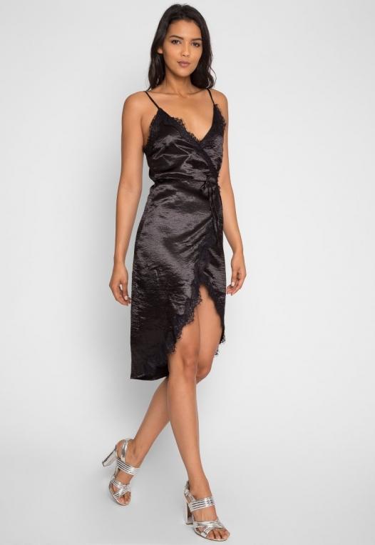 Mercury Satin Wrap Dress in Black alternate img #1
