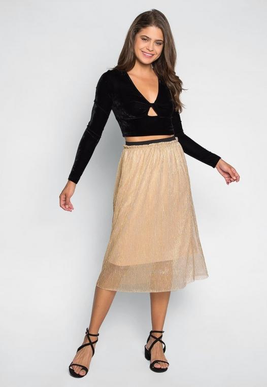 Treasure Metallic Midi Skirt alternate img #4