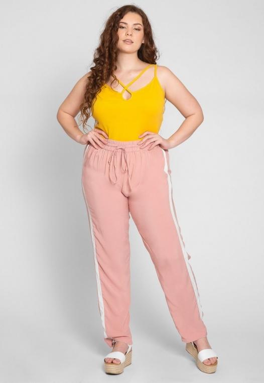 Plus Size Side Stripe Knit Pants in Blush alternate img #1