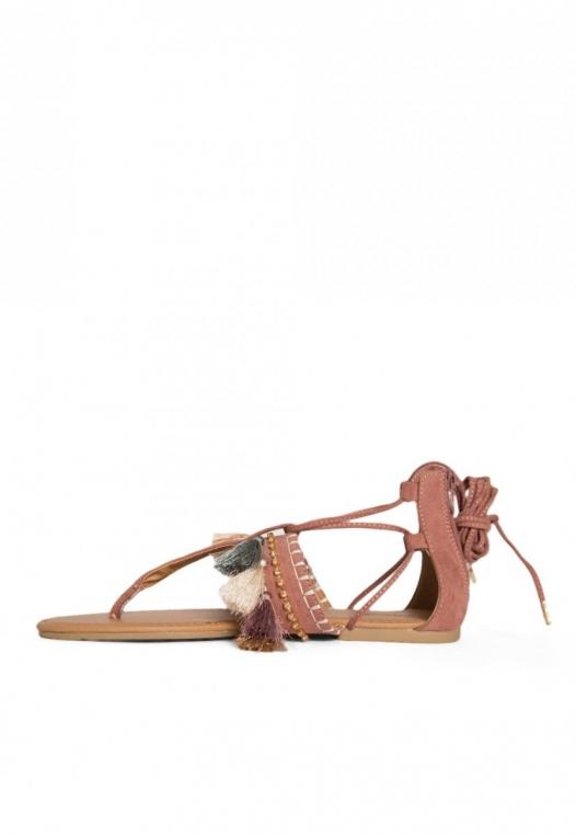 Eternity Tassel Gladiator Sandals in Light Pink alternate img #3