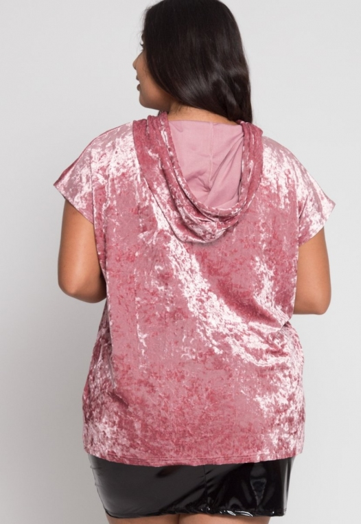 Plus Size Crushed Velvet Hoodie In Pink alternate img #3