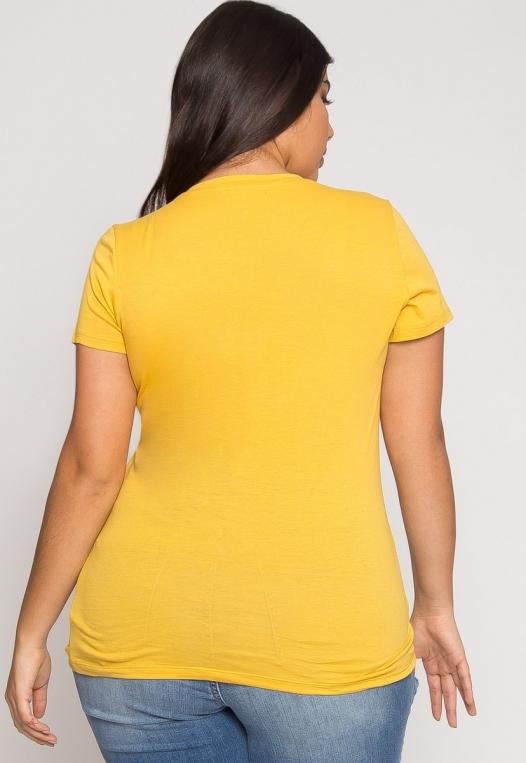 Plus Size The Basics V-Neck Tee in Yellow alternate img #3