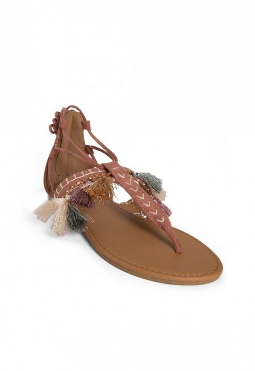 Eternity Tassel Gladiator Sandals in Light Pink alternate img #4