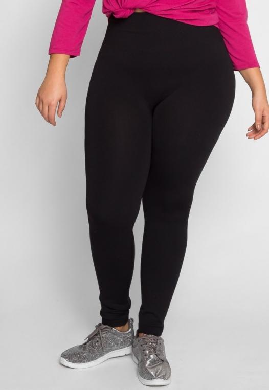 Plus Size High Waist Fleece Leggings in Black alternate img #2