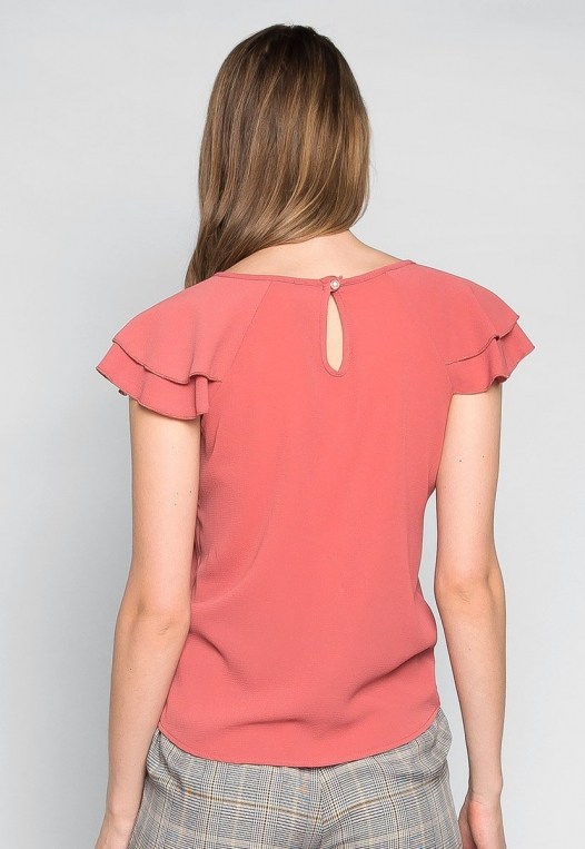 Blushing Cheeks Flutter Sleeve Blouse in Pink alternate img #2
