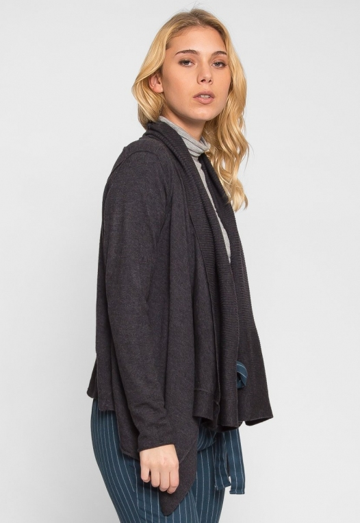 Waterfall Open Front Cardigan in Charcoal alternate img #2