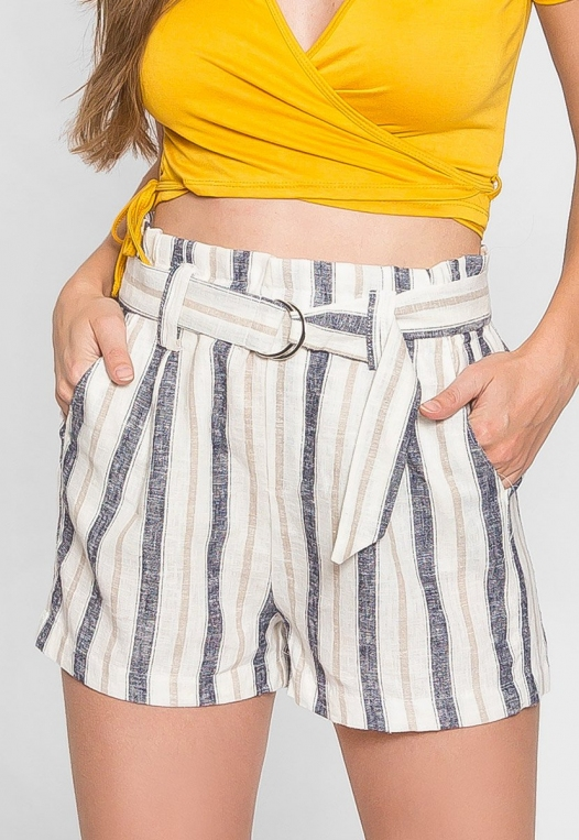 Beach Day Stripe Linen Shorts in Blue alternate img #3
