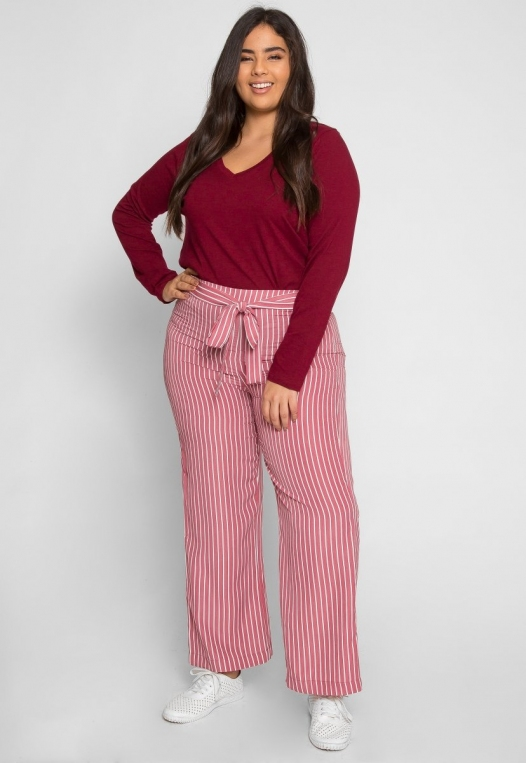 Plus Size Quest Stripe Palazzo Pants in Pink alternate img #4