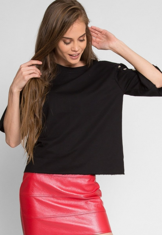 Talbert Button Sweatshirt in Black alternate img #1