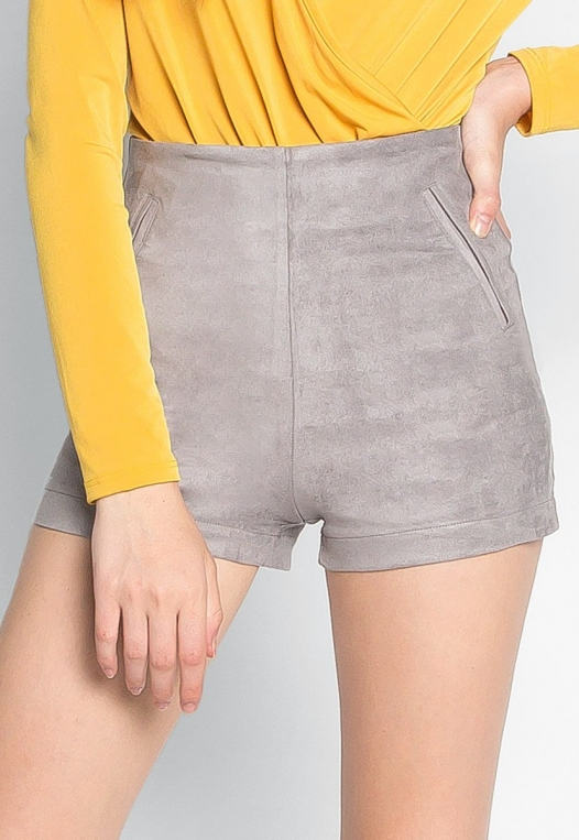 Here To Suede Shorts in Gray alternate img #1