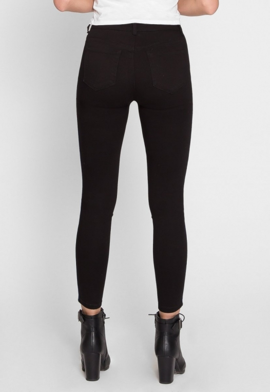 Varsity Trim Skinny Jeans in Black alternate img #3