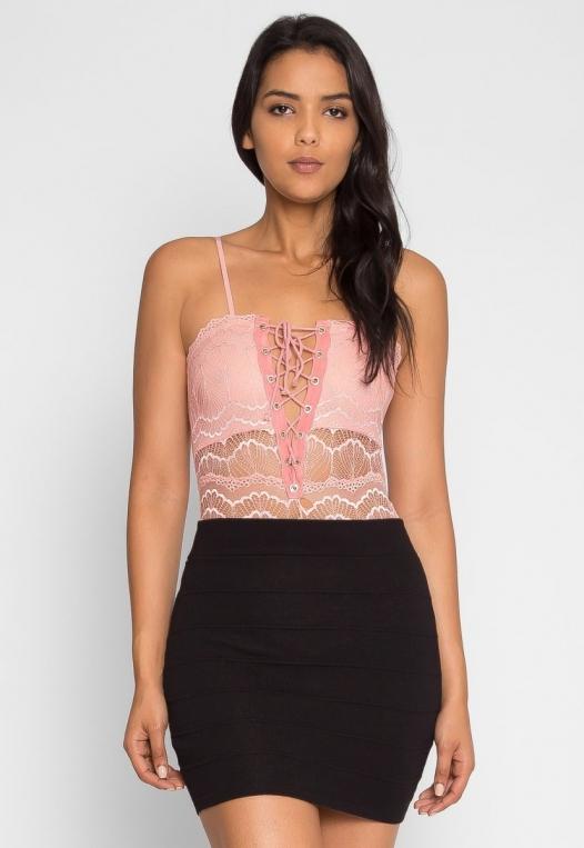 Harlow Lace Bodysuit in Blush alternate img #2