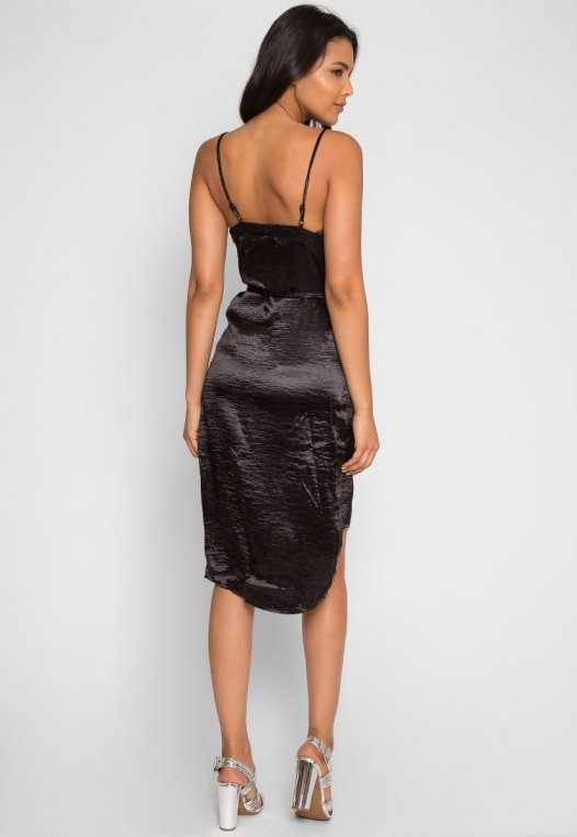 Mercury Satin Wrap Dress in Black alternate img #3
