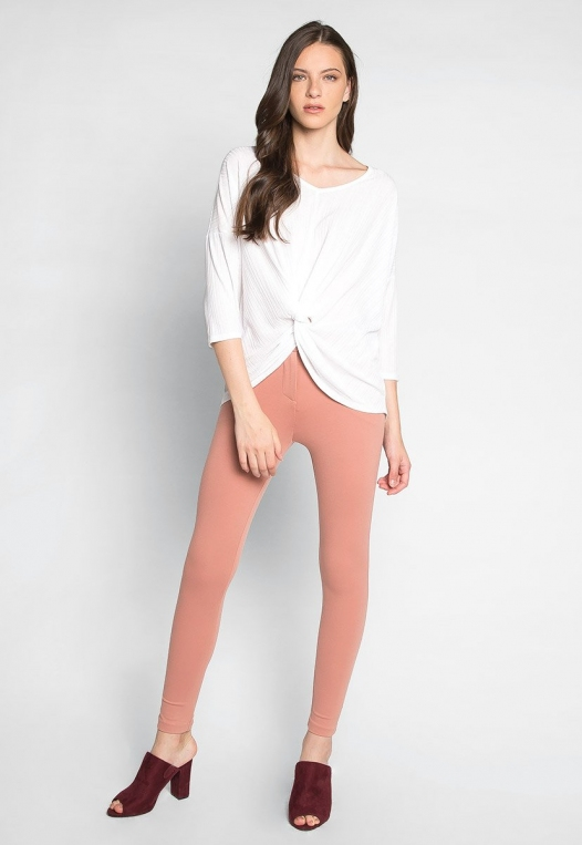 Always Fun Knot Front Blouse in White alternate img #4