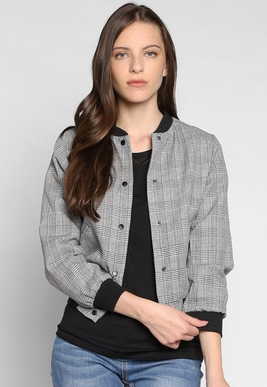 Keep It Secret Plaid Bomber Jacket alternate img #1