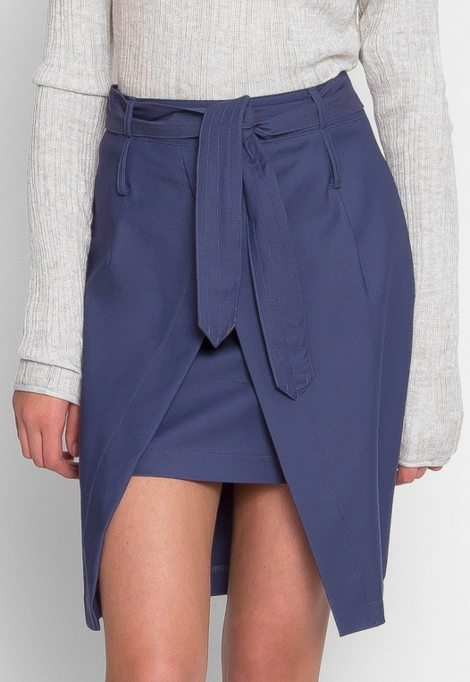 Tie Front Overlay Skirt in Navy alternate img #2