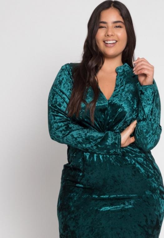 Plus Size Wild Velvet Party Dress in Green alternate img #5