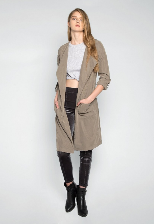 Almost Famous Roll Tab Lapel Coat in Sage alternate img #1