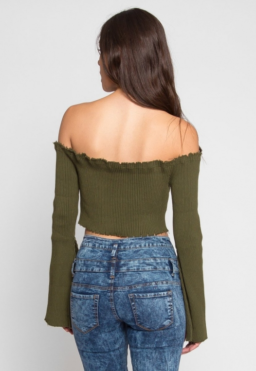 Faux Underwire Long Sleeve Top in Olive alternate img #4