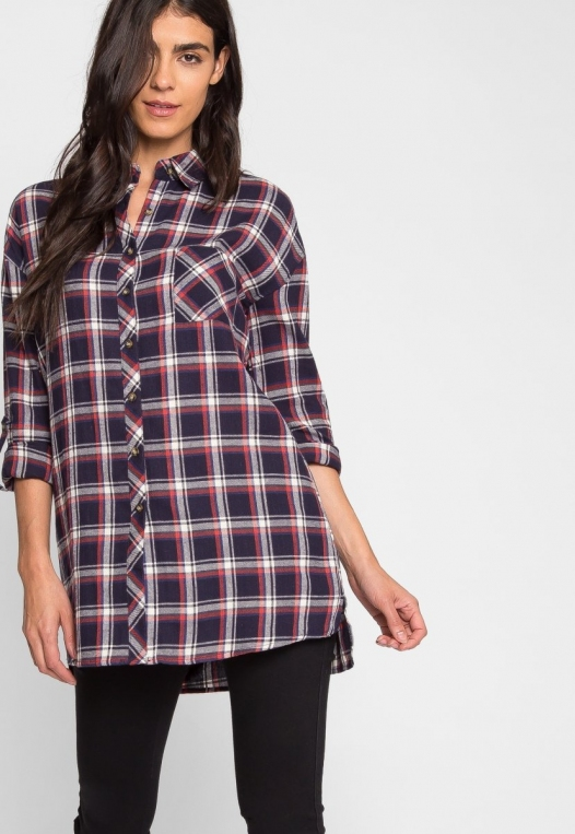 Oversize Plaid Flannel Shirt in Navy alternate img #7