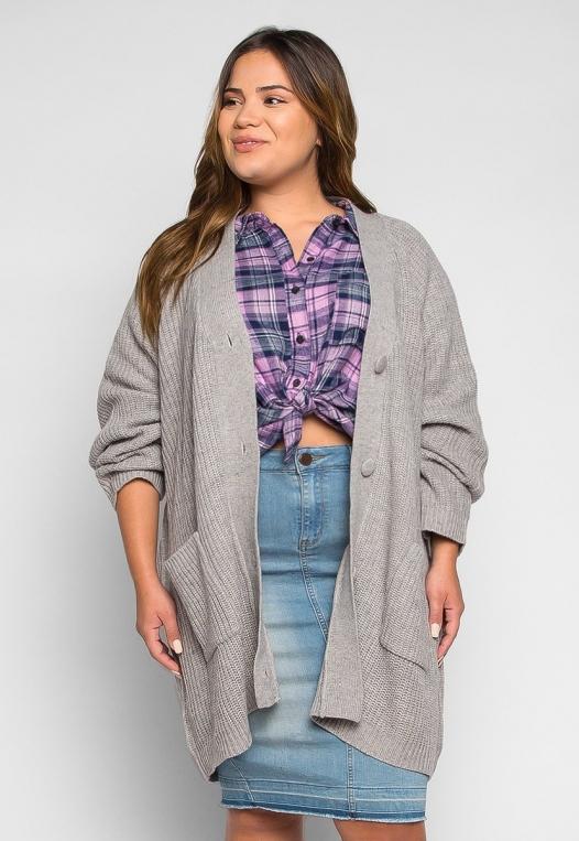 Plus Size Lila Oversized Button Front Cardigan alternate img #1