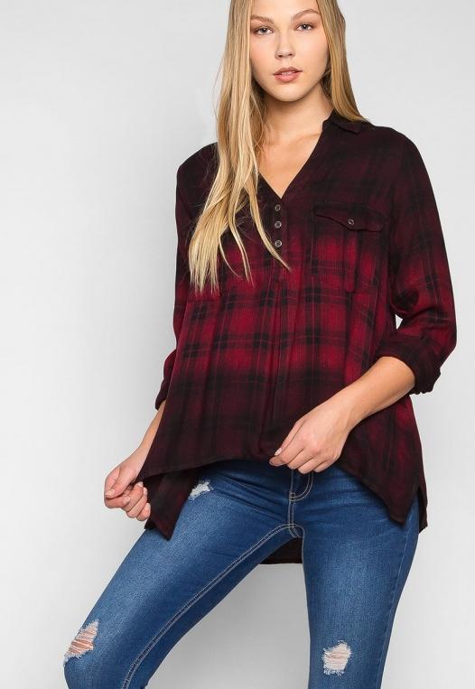 Lucky Girl Ombre Plaid Henley Shirt alternate img #5
