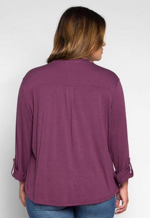 Plus Size Madeline Roll Tab Sleeve Blouse in Purple alternate img #2