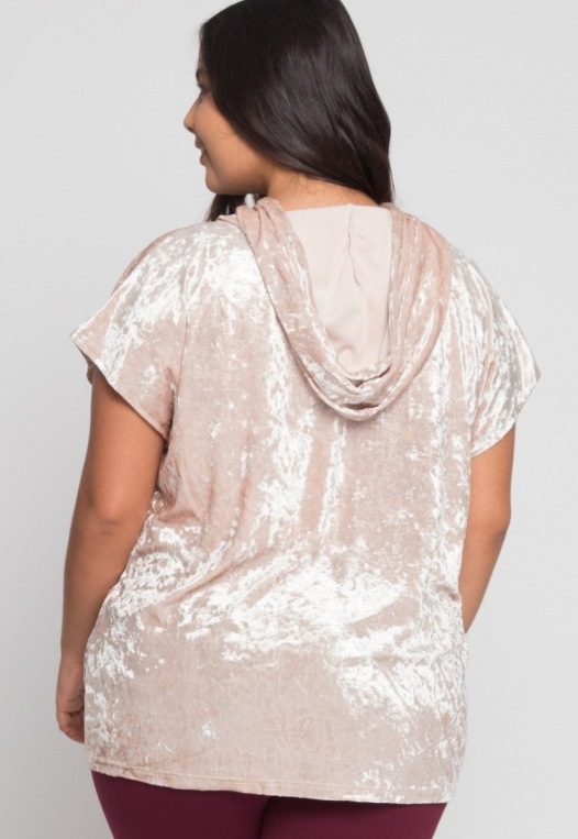 Plus Size Crushed Velvet Hoodie in Beige alternate img #3