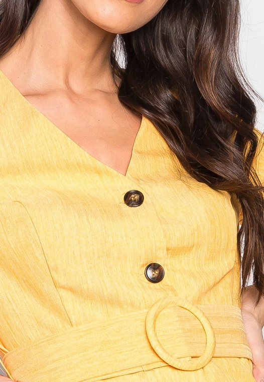 Forever Me Button Up Belted Blouse in Yellow alternate img #6