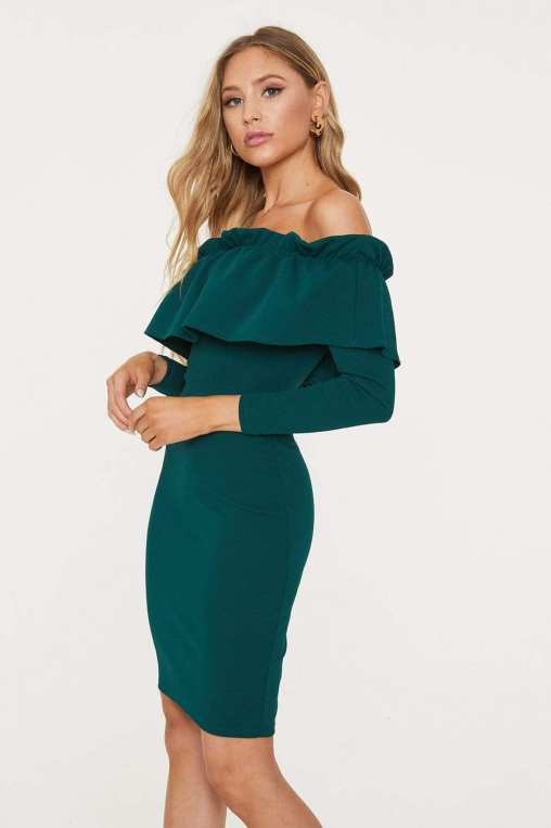 Off-The-Shoulder Flounce Long Sleeved Dress alternate img #3