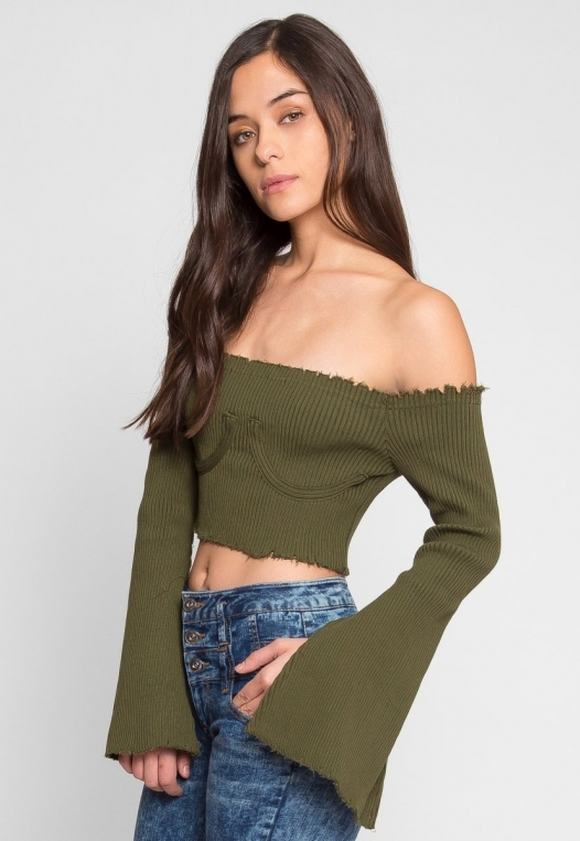 Faux Underwire Long Sleeve Top in Olive alternate img #3
