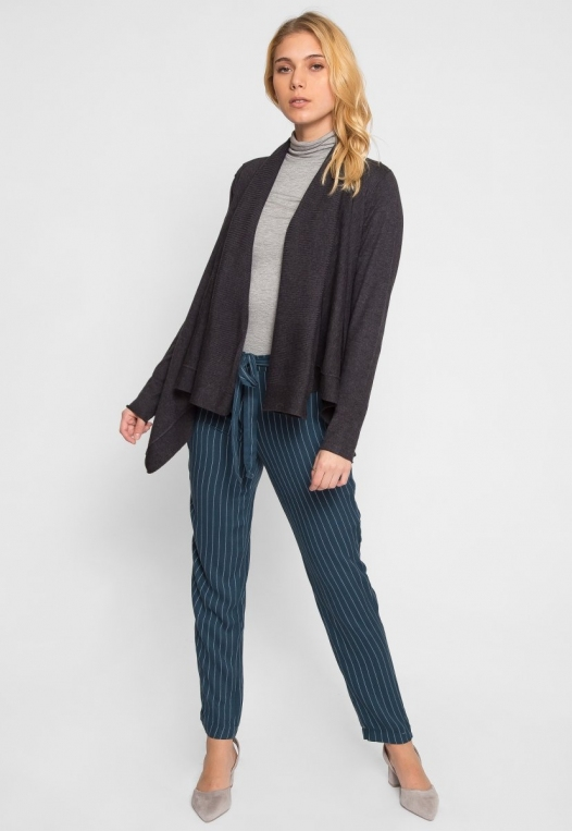 Waterfall Open Front Cardigan in Charcoal alternate img #4