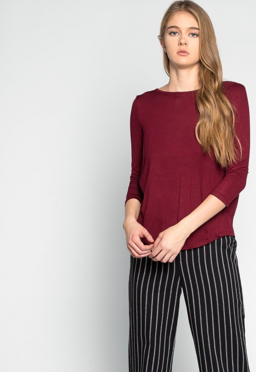 Popsicle Open Back Knit Top in Burgundy alternate img #1