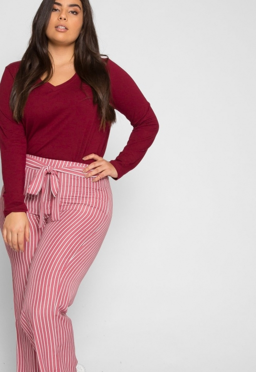 Plus Size Quest Stripe Palazzo Pants in Pink alternate img #5