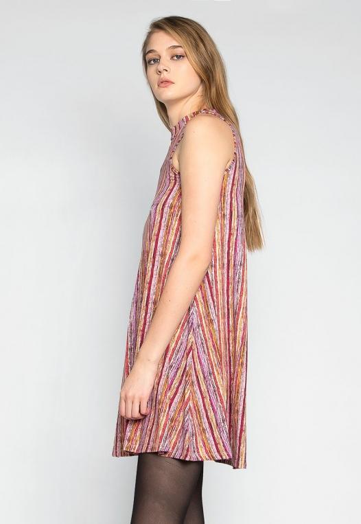 Colorful Party Striped Mock Neck Dress alternate img #3