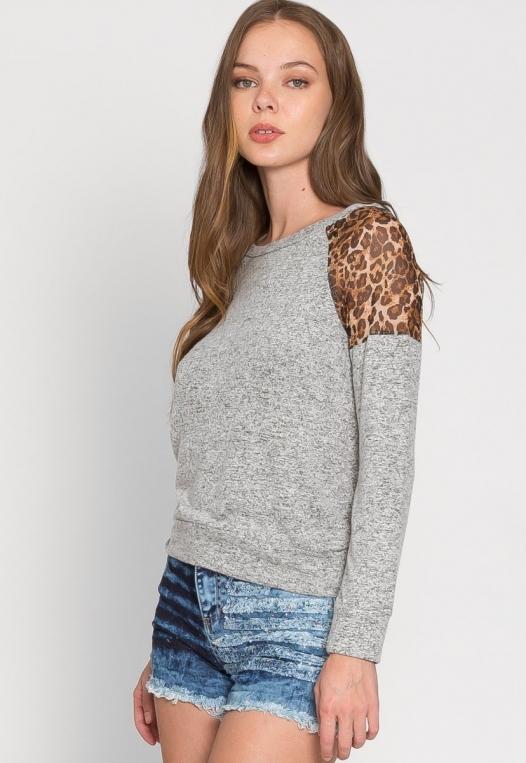 Mystery Leopard Insert Sweater alternate img #3