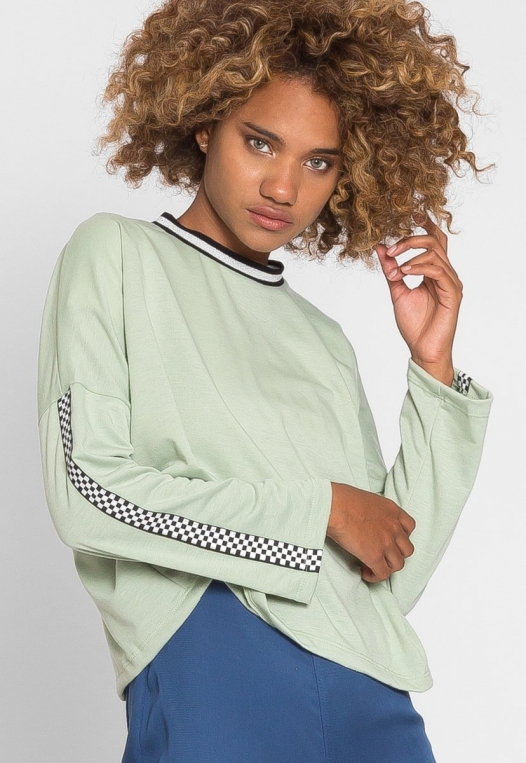 For You Checkboard Trim Knit Top in Mint alternate img #2