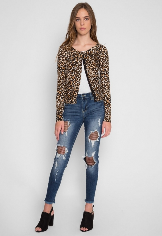 Wild Side Cardigan in Brown Leopard alternate img #8